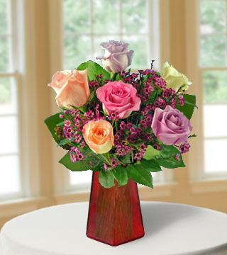 6 Pastel Roses FREE Vase From  $67