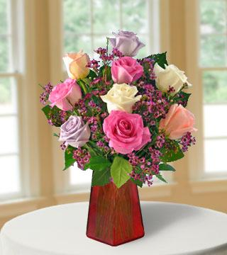 6 Pastel Roses FREE Vase Bouquet