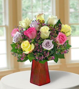 6 Pastel Roses FREE Vase