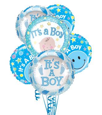 6 Baby Boy Mylars