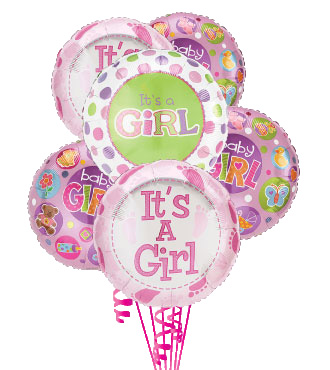 6 Baby Girl Balloons