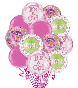12 Baby Girl Mylars