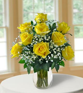 9 Yellow Long-Stem Roses