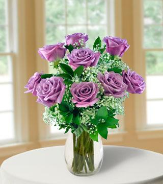 9 Lavender Long-Stem Roses