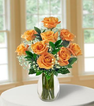 9 Orange Long-Stem Roses