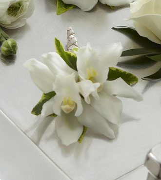 FTD® White Mini Cymbidium Boutonniere