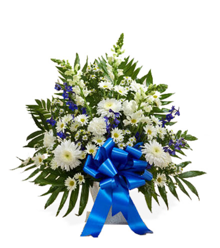 Sympathy Floor Basket Blue & White