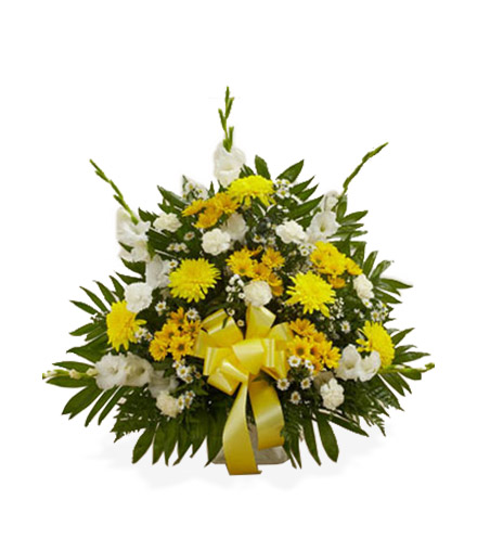 Sympathy Floor Basket - Yellow & White