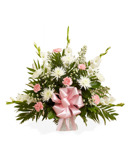 Pink and White Sympathy Floor Basket - Great