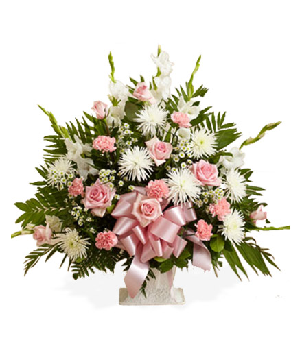 Pink and White Sympathy Floor Basket - Greater