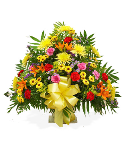 Sympathy Floor Basket - Multi-Color Bright