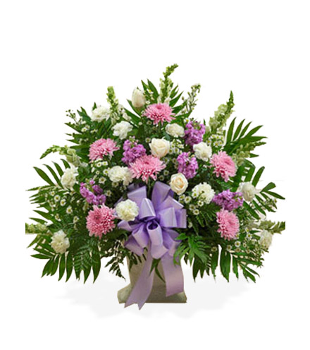 Lavender and White Sympathy Floor Basket - Greater