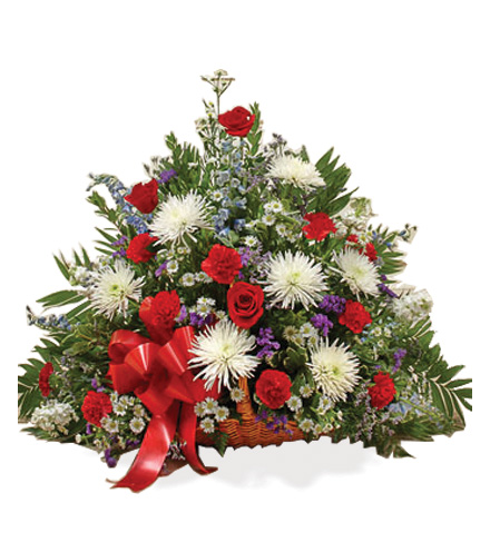 Sympathy Floor Basket - Red, White & Blue