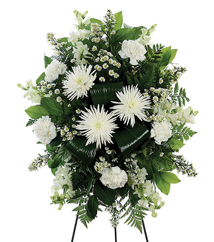 White Standing Spray Floral Arrangement