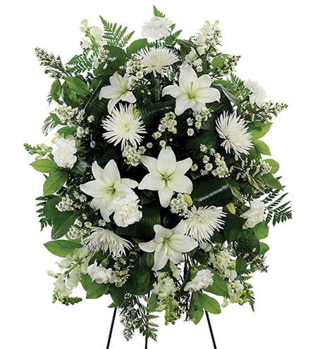 White Standing Spray Floral Arrangement - Greater