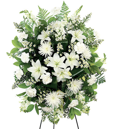 White Standing Spray Floral Arrangement - Greatest