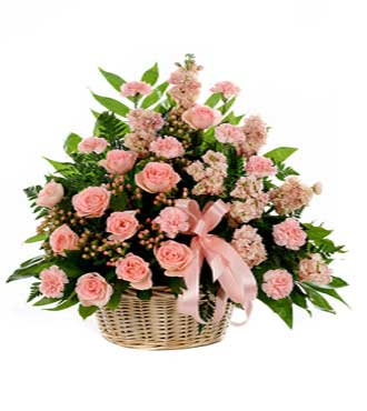 Classic Pink Sympathy Basket - Greatest
