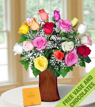 18 Multi-Color Roses FREE Vase & Chocolate Box