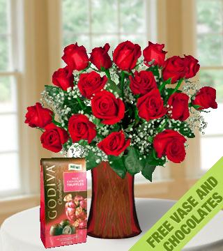 18 Red Roses FREE Vase & Chocolate Bag