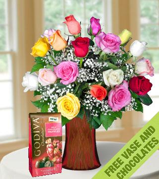 18 Multi-Color Roses FREE Vase & Chocolate Bag