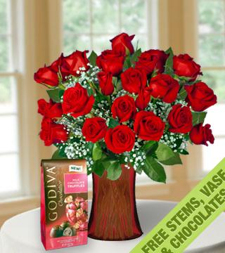 18 with 6 FREE Red Roses, Vase and Chocolates From  $102