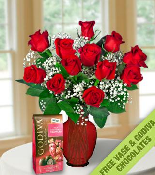 18 Red Roses with FREE Vase & Chocolate Bag