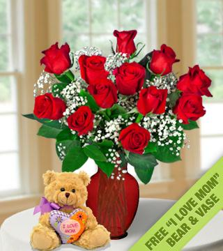 "24 Red Roses FREE Vase & ""I Love Mom"" Bear"