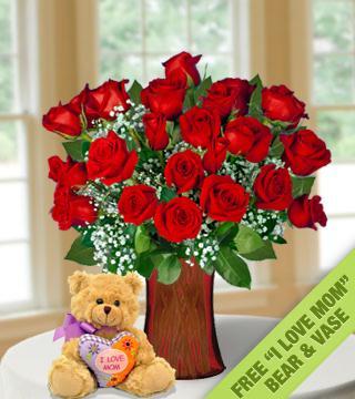 24 Red Roses FREE Vase &