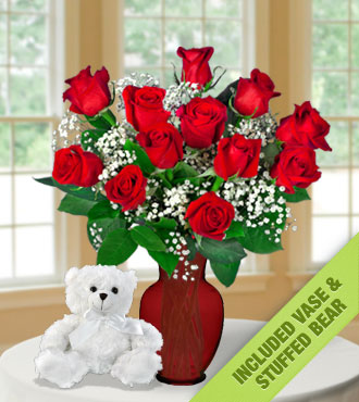 12 Red Roses INCLUDED Vase & White Bear