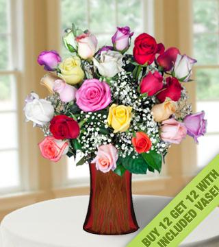 Buy 12 Get 12 Multi-color Roses with Vase