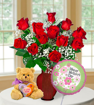 "12 Red Roses with ""I Love Mom"" Bear & Balloon"