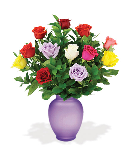 12 Multi-Colored Roses with Purple Vase