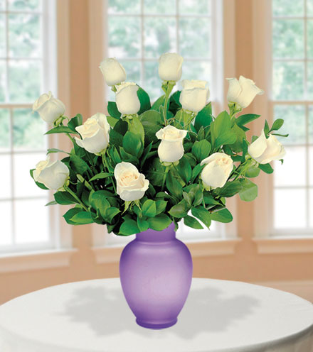 12 White Roses with Purple Vase