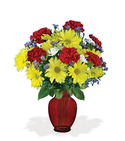 Cheerful Greetings with Red Vase