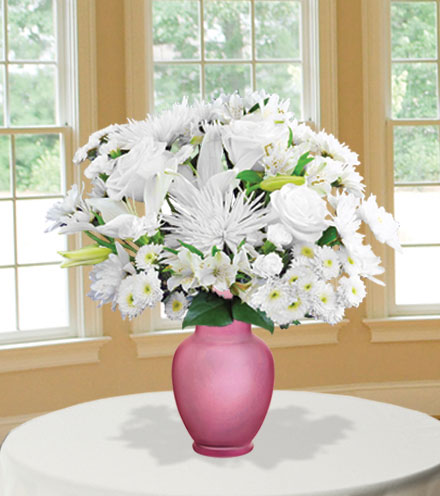 Classic All White with Pink Vase