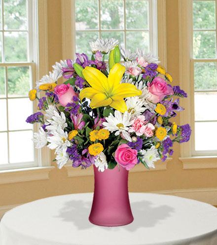 European Garden with Pink Vase