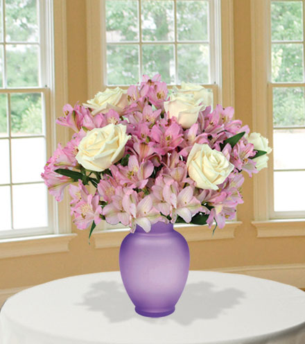 Pink Pearls with Purple Vase