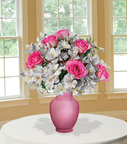 Shimmering Blush with Pink Vase