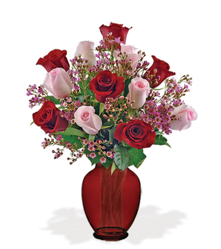 Elegant Rose Bouquet with Red Vase