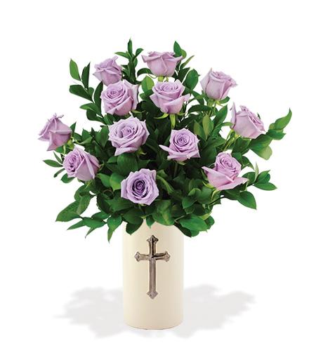 Sympathy Cross Vase - 12 Lavender Roses