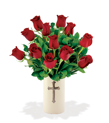 Sympathy Cross Vase - 12 Red Roses