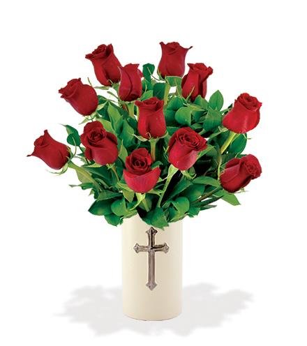 Sympathy Cross Vase - 12 Red Roses