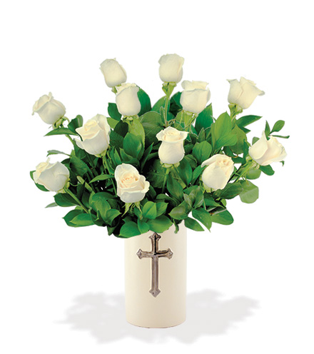 Sympathy Cross Vase - 12 White Roses