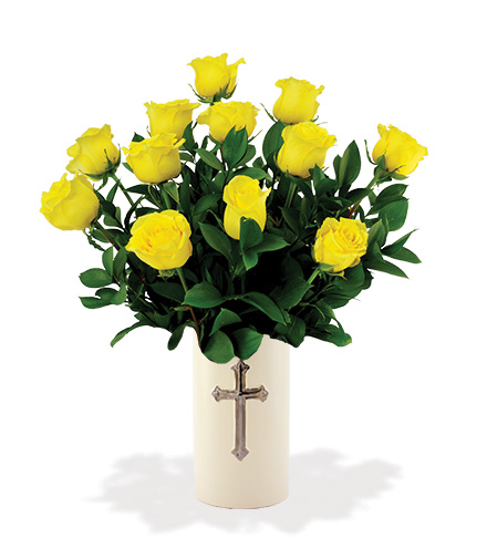 Sympathy Cross Vase - 12 Yellow Roses