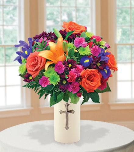 Sympathy Cross Vase - Orange, Purple and Green