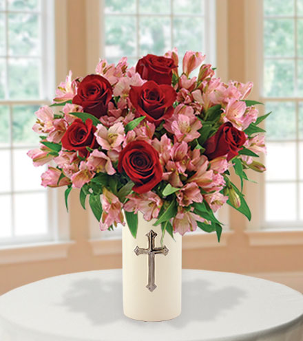Sympathy Cross Vase Red Roses And Pink Lilies Blooms Today