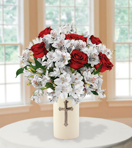 Sympathy Cross Vase - Red Roses and White Lilies