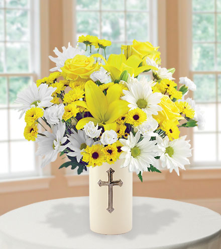 Sympathy Cross Vase - White & Yellow