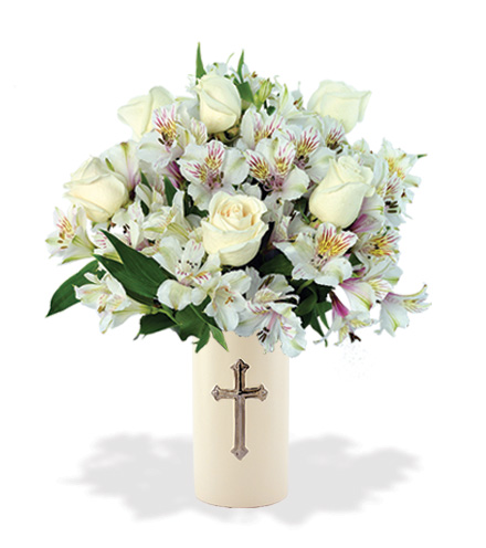 Sympathy Cross Vase - White Roses and White Lilies