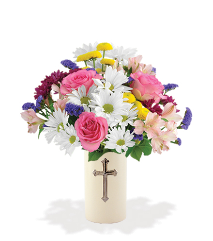 Sympathy Cross Vase - White, Pink & Purple